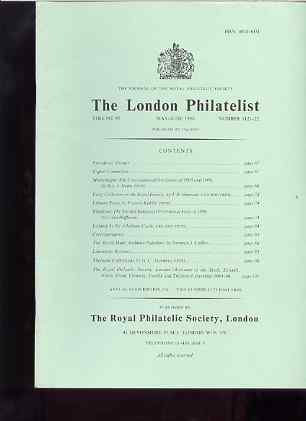 Literature - London Philatelist Vol 95 Number 1121-22 dated May-Jun 1986 - with articles relating to Montenegro, Rhodesia, Iceland & Palestine