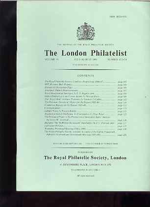 Literature - London Philatelist Vol 95 Number 1123-24 dated July-Aug 1986 - with articles relating to Palestine, Australian States & Baghdad