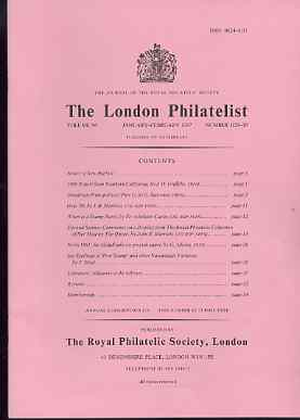Literature - London Philatelist Vol 96 Number 1129-30 dated Jan-Feb 1987 - with articles relating to Fiji & Samoa (The Royal Collection), Nevis & India Nawanagar