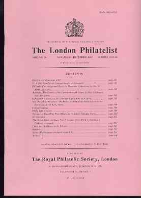 Literature - London Philatelist Vol 96 Number 1139-40 dated Nov-Dec 1987 - with articles relating to Thematics, Australia, Ireland & Tasmania