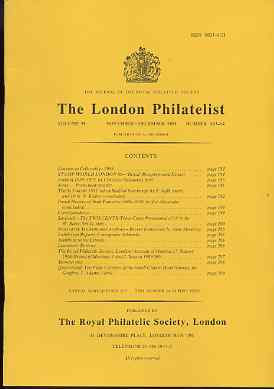 Literature - London Philatelist Vol 98 Number 1163-64 dated Nov-Dec 1989 - with articles relating to St Vincent, Palestine, Sarawak & Queensland