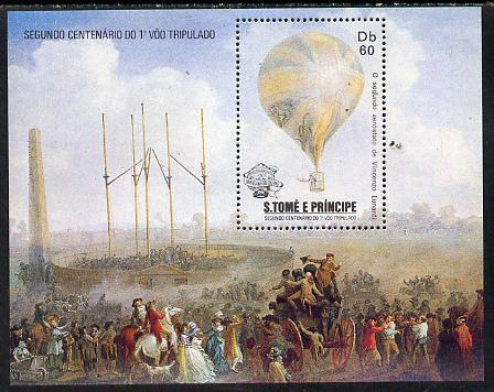 St Thomas & Prince Islands 1983 Bicentenary of Manned Flight m/sheet (Balloon) unmounted mint Mi BL 127
