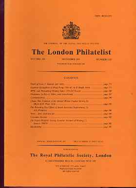 Literature - London Philatelist Vol 100 Number 1187 dated November 1991 - with articles relating to Hong Kong, Overprints, Chiona & TPOs of South Australia