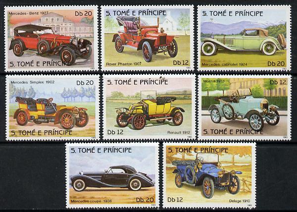 St Thomas & Prince Islands 1983 History of Motoring set of 8, unmounted mint, Mi 852-59