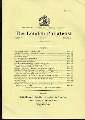 Literature - London Philatelist Vol 103 Number 1216 dated June 1994 - with articles relating to Nigeria, Eatly Great Britain Postal History, Transvaal, Rhodesia & French ...