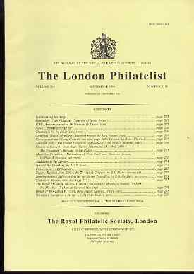 Literature - London Philatelist Vol 103 Number 1218 dated September 1994 - with articles relating to Austrian Italy, Mauritius, Egypt & Railways
