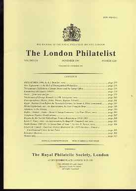Literature - London Philatelist Vol 103 Number 1220 dated November 1994 - with articles relating to Egypt, India Dutia & North Borneo