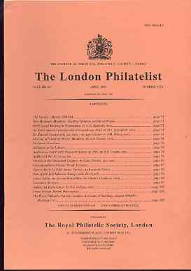 Literature - London Philatelist Vol 104 Number 1224 dated April 1995 - with articles relating to Austrian Levant, Mexico, China, Nauru & Great Britain, stamps on