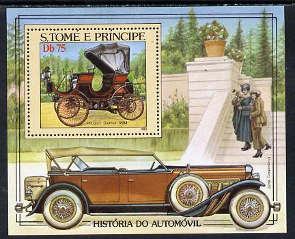 St Thomas & Prince Islands 1983 History of Motoring m/sheet, unmounted mint, Mi BL 137