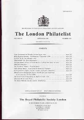 Literature - London Philatelist Vol 105 Number 1238 dated September 1996 - with articles relating to Panagra Airmails & Greek Posts in Macedonia