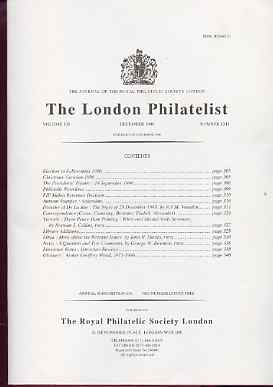 Literature - London Philatelist Vol 105 Number 1241 dated December 1996 - with articles relating to De La Rue, Victoria, Libya Revenues & Nevis