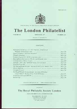 Literature - London Philatelist Vol 106 Number 1248 dated September 1997 - with articles relating to Northern Nigeria, Inflation Mail, Germany & National Postal Museum, stamps on