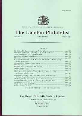 Literature - London Philatelist Vol 106 Number 1250 dated November 1997 - with articles relating to Chile, Queensland & Errors