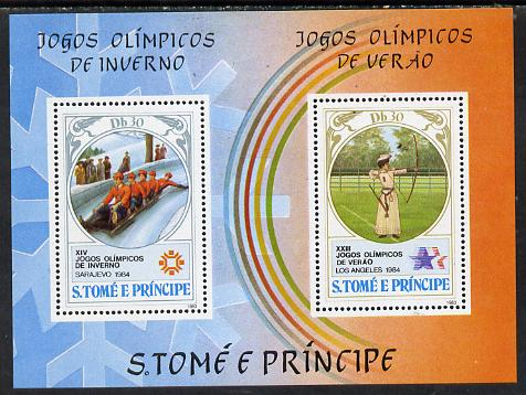 St Thomas & Prince Islands 1983 Olympic Games m/sheet (Bobsled & Archery) unmounted mint Mi BL 142A