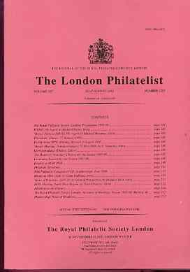 Literature - London Philatelist Vol 107 Number 1257 dated July-Aug 1998 - with articles relating to Rhodesia & Palestine