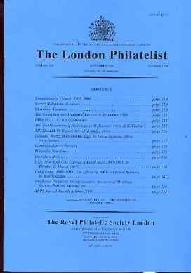 Literature - London Philatelist Vol 108 Number 1268 dated September 1999 - with articles relating to Canada, USA New York Locals & Hong Kong