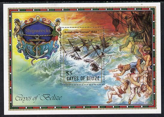 Cayes of Belize 1985 The Comet (Shipwrecks) $5 unmounted mint m/sheet