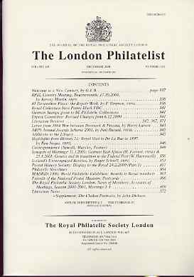 Literature - London Philatelist Vol 109 Number 1281 dated December 2000 - with articles relating to De La Rue, Postal History Displays & Iceland plus Chalon Portraits Supplement