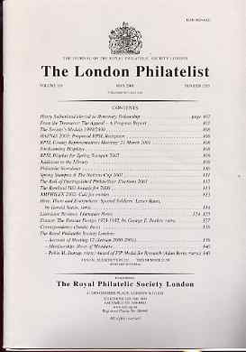 Literature - London Philatelist Vol 110 Number 1285 dated May 2001 - with articles relating to Soldiers' Letters & France