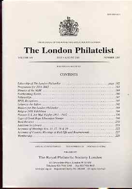 Literature - London Philatelist Vol 110 Number 1287 dated July-Aug 2001 - with articles relating to USA AirMails & Cape of Good Hope