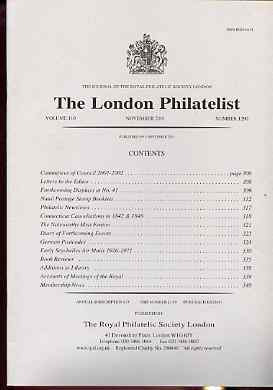 Literature - London Philatelist Vol 110 Number 1290 dated November 2001 - with articles relating to Natal, Connecticut Cancels, German & Seychelles