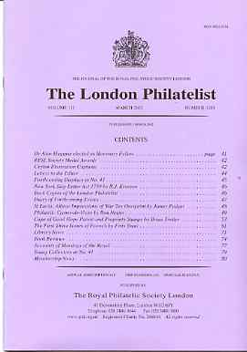 Literature - London Philatelist Vol 110 Number 1293 dated March 2002 - with articles relating to Ceylon, St Lucia, Cape of Good Hope & India Poonch