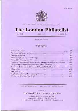 Literature - London Philatelist Vol 110 Number 1294 dated April 2002 - with articles relating to Columbus & Trinidad