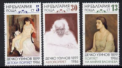 Bulgaria 1988 Paintings by Dechko Uzunov set of 3, Mi 3672-74 unmounted mint
