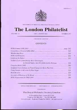Literature - London Philatelist Vol 110 Number 1297 dated July-Aug 2002 - with articles relating to Orange River, Sardinia & Advertising