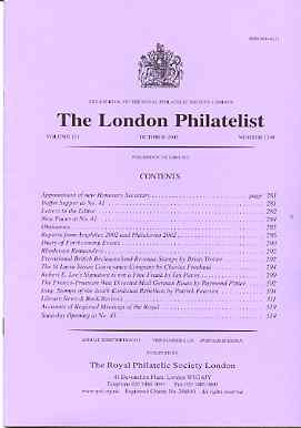 Literature - London Philatelist Vol 110 Number 1299 dated October 2002 - with articles relating to Bechuanaland, St Lucia, Franco-Prussian war & Iraq