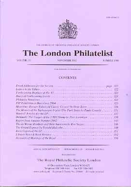 Literature - London Philatelist Vol 110 Number 1300 dated November 2002 - with articles relating to Mauritius, Brazil, Denmark & De Worms