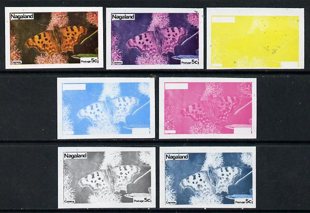 Nagaland 1974 Butterflies 5c (Comma) set of 7 imperf progressive colour proofs comprising the 4 individual colours plus 2, 3 and all 4-colour composites unmounted mint