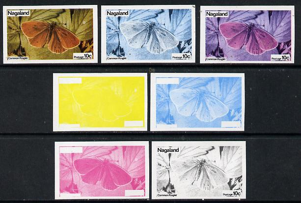 Nagaland 1974 Butterflies 10c (Common Ringlet) set of 7 imperf progressive colour proofs comprising the 4 individual colours plus 2, 3 and all 4-colour composites unmounted mint