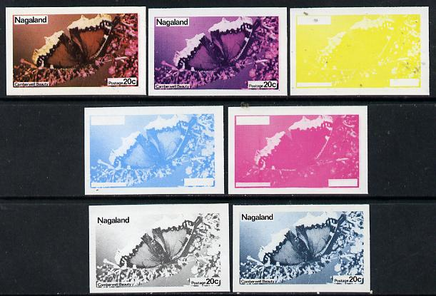 Nagaland 1974 Butterflies 20c (Camberwell Beauty) set of 7 imperf progressive colour proofs comprising the 4 individual colours plus 2, 3 and all 4-colour composites unmounted mint