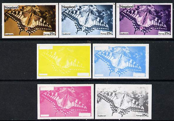 Nagaland 1974 Butterflies 25c (Swallowtail) set of 7 imperf progressive colour proofs comprising the 4 individual colours plus 2, 3 and all 4-colour composites unmounted mint