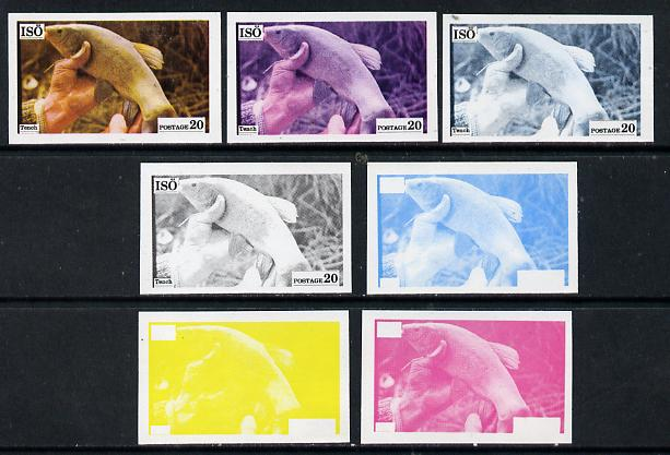 Iso - Sweden 1973 Fish 20 (Tench) set of 7 imperf progressive colour proofs comprising the 4 individual colours plus 2, 3 and all 4-colour composites unmounted mint