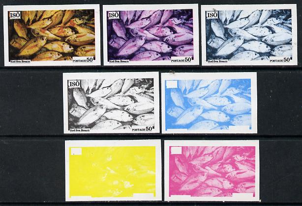Iso - Sweden 1973 Fish 50 (Red Sea Bream) set of 7 imperf progressive colour proofs comprising the 4 individual colours plus 2, 3 and all 4-colour composites unmounted mint