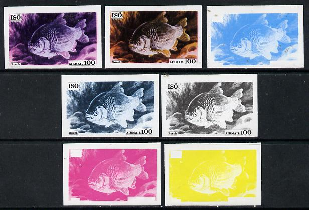 Iso - Sweden 1973 Fish 100 (Roach) set of 7 imperf progressive colour proofs comprising the 4 individual colours plus 2, 3 and all 4-colour composites unmounted mint