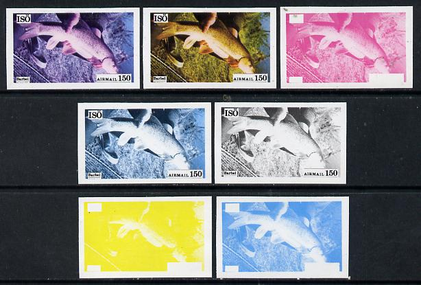 Iso - Sweden 1973 Fish 150 (Barbel) set of 7 imperf progressive colour proofs comprising the 4 individual colours plus 2, 3 and all 4-colour composites unmounted mint