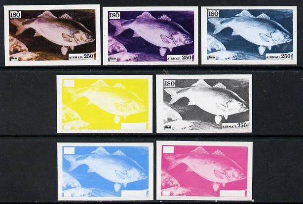 Iso - Sweden 1973 Fish 250 (Bass) set of 7 imperf progressive colour proofs comprising the 4 individual colours plus 2, 3 and all 4-colour composites unmounted mint