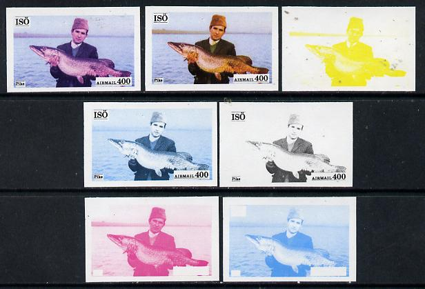 Iso - Sweden 1973 Fish 400 (Pike) set of 7 imperf progressive colour proofs comprising the 4 individual colours plus 2, 3 and all 4-colour composites unmounted mint