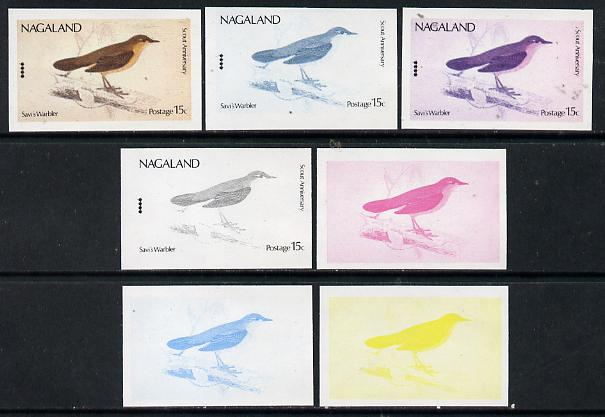 Nagaland 1974 Birds (with Scout Emblems) 15c (Warbler) set of 7 imperf progressive colour proofs comprising the 4 individual colours plus 2, 3 and all 4-colour composites unmounted mint