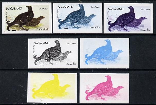 Nagaland 1974 Birds (with Scout Emblems) 1ch (Black Grouse) set of 7 imperf progressive colour proofs comprising the 4 individual colours plus 2, 3 and all 4-colour composites unmounted mint