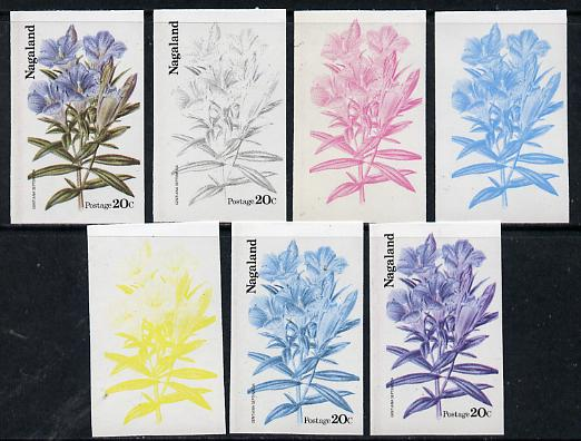 Nagaland 1974 Flowers 20c (Gentiana Septemfida) set of 7 imperf progressive colour proofs comprising the 4 individual colours plus 2, 3 and all 4-colour composites unmounted mint