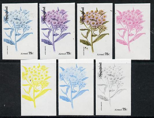 Nagaland 1974 Flowers 75c (Aster Cabulicus) set of 7 imperf progressive colour proofs comprising the 4 individual colours plus 2, 3 and all 4-colour composites unmounted mint