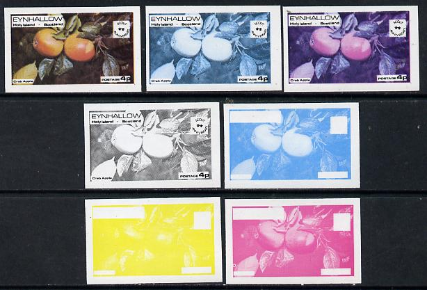 Eynhallow 1974 Fruit (Scout Anniversary) 4p (Crab Apple) set of 7 imperf progressive colour proofs comprising the 4 individual colours plus 2, 3 and all 4-colour composites unmounted mint