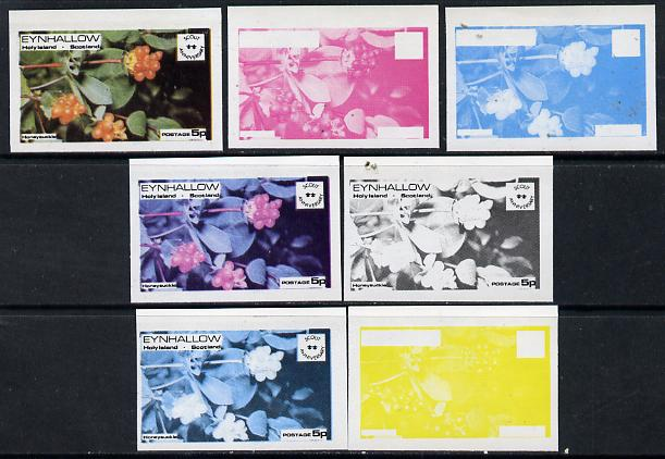 Eynhallow 1974 Fruit (Scout Anniversary) 5p (Honeysuckle) set of 7 imperf progressive colour proofs comprising the 4 individual colours plus 2, 3 and all 4-colour composites unmounted mint