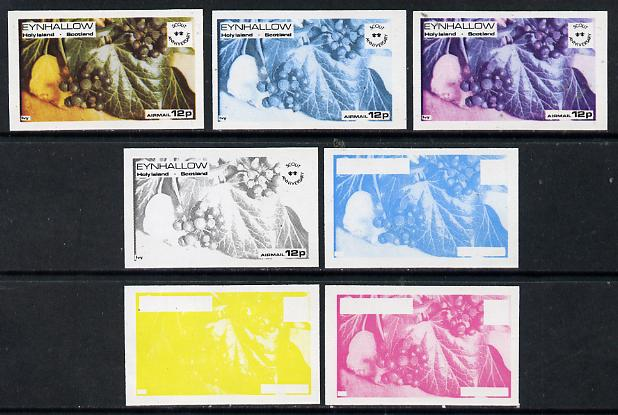 Eynhallow 1974 Fruit (Scout Anniversary) 12p (Ivy) set of 7 imperf progressive colour proofs comprising the 4 individual colours plus 2, 3 and all 4-colour composites unm...