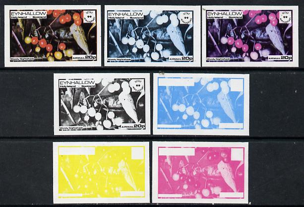 Eynhallow 1974 Fruit (Scout Anniversary) 20p (Woody Nightshade) set of 7 imperf progressive colour proofs comprising the 4 individual colours plus 2, 3 and all 4-colour composites unmounted mint