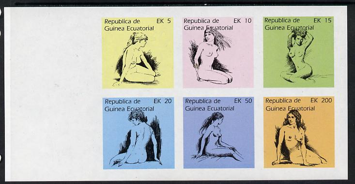 Equatorial Guinea 1977 Drawings of Nudes imperf set of 6 (Mi 1233-38B) unmounted mint